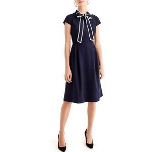 J. CREW NAVY TIE NECK CREPE FIT & FLARE DRESS 4